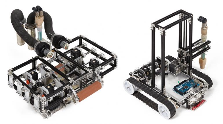 Команда из нескольких  3D-принтеров «Minibuilder» может создавать крупномасштабные объекты.