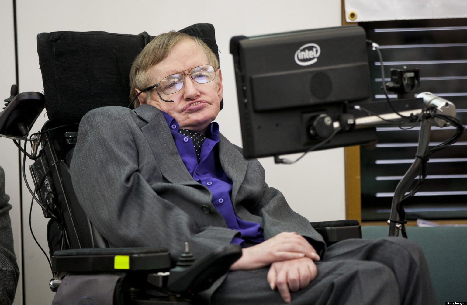 LONDON, UNITED KINGDOM - APRIL 30: Stephen Hawking  makes an appearance to show support for the Breathe On UK charity at  on April 30, 2013 in London, England. (Photo by John Phillips/UK Press via Getty Images)