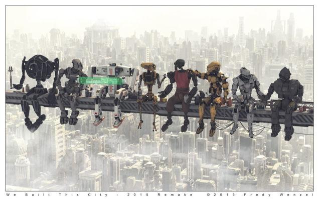 Даже строительные роботы отдыхают во время обеда