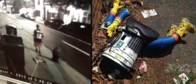 Вот видео того придурка, который разбил  hitchBOT